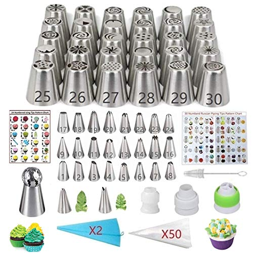 ANSLYQA 116 Pcs Russian Piping Tips Set with 54 Numbered Tips (30 Russian & 24 Icing), 1 Ball Tip,2 Leaf Tips,52 Pastry Bags,3 Couplers for Cake Decorating Cupcake Cookies Baking Supplies Kit