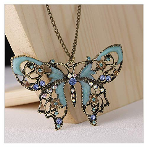 A&C Boho Butterfly Pendant Necklace Crystal Rhinestone Choker Long Necklaces Jewelry Chain for Women and Girls