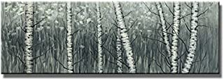 Wieco Art The Birch Forest Canvas Prints Wall Art Grey Trees Oil Paintings Reproduction Pictures Living Room Bedroom Home Decorations Modern Stretched Framed Tree Landscape Giclee Artwork