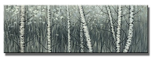 Wieco Art The Birch Forest Canvas Prints Wall Art Grey Trees Oil Paintings Reproduction Pictures for Living Room Bedroom Home Decorations Modern Stretched and Framed Tree Landscape Giclee Artwork