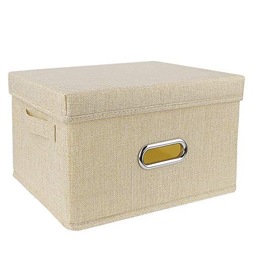 Redmoo Aufbewahrungsbox, Faltbare Leinentuch Kleidung Ablagekorb, mit Deckel, Faltbare Aufbewahrungskiste für Kleiderschrank, Kleidung, Bücher, Kosmetik, Spielzeug (Beige,S,34x25x18cm)