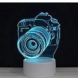 Luz nocturna 3D Cámara SLR AuricularesInterruptor deguitarraLED acrílico 7 colores auto