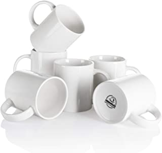 Mugaholics White Coffee Mug Set - 11 Ounce Ceramic Mug Set with Handle - White Coffee Mugs for Coffee, Cocoa, Tea, Milk an...