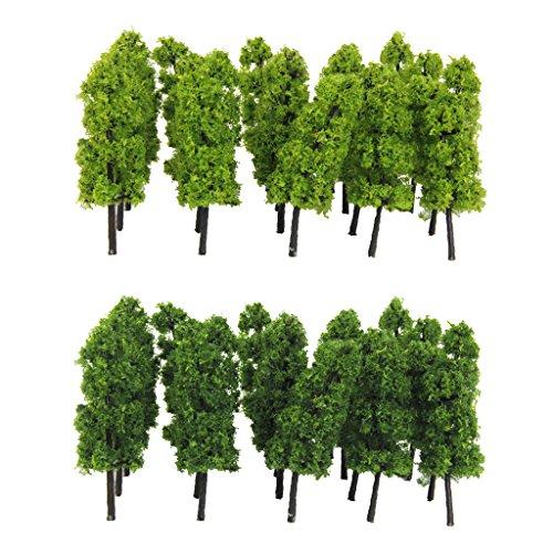 freneci 60 Piezas de Plástico Modelo de Tren árbol Ferrocarril Calle Bosque...