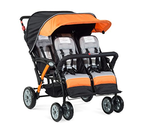 Foundations Quad Sport 4-Passenger Folding Stroller with Canopy, Orange