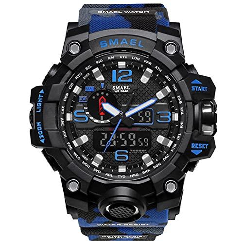 JTTM Reloj Deportivo Digital Multifuncional, Impermeable, Luminoso, De Doble Pantalla, Reloj Militar, con Gran Cara, para Hombre Y Niño,Azul