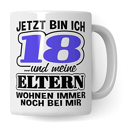 Pagma Druck Tasse 18. Geburtstag, Volljährig Geschenk Becher, 18 Jahre alt Geschenkidee, Kaffeetasse Junge Mädchen Geburtstagsgeschenk (Weiß/Weiß)