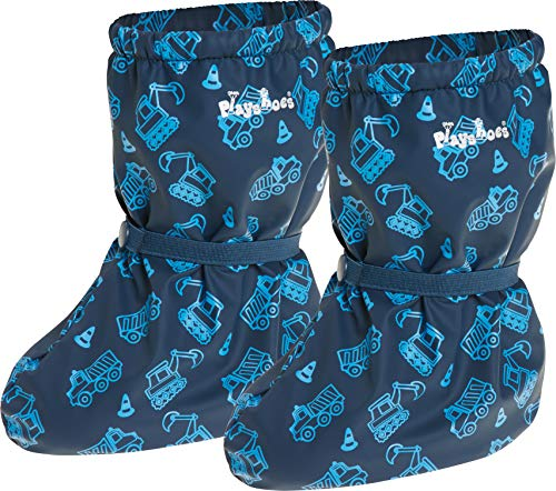 Playshoes Baby Jungen Regenfüßlinge mit Fleece Baustelle Stiefel, Blau (Marine 11), S