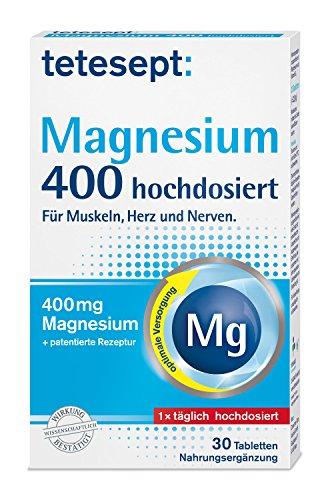 tetesept Magnesium 400 hochdosiert - mit Vitamin B6, Magnesiumtabletten mit patentierter Rezeptur - zur optimalen Versorgung im Körper, 5 x 30 Tabletten (Nahrungsergänzungsmittel)