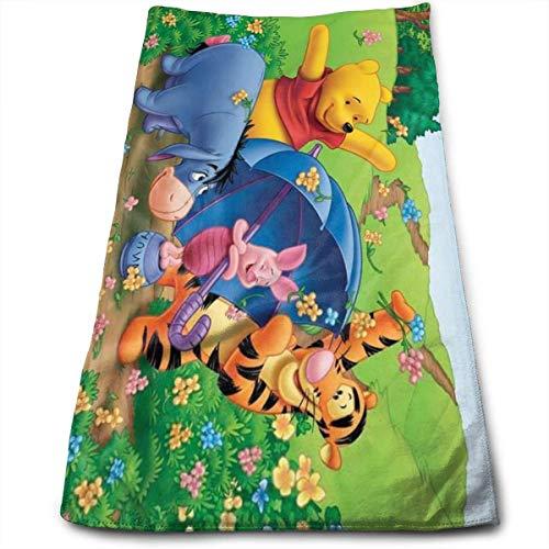 AOOEDM Toalla de Tigre Saltador y Winnie The Pooh, 100% algodón, Toallas de baño Suaves, Gruesas, de Calidad, para baño, Hotel y Cocina, (12 x 27,5 Pulgadas)