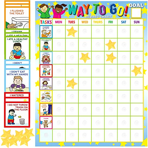 """Youngever""""Way to Go"""" Reward and Responsibility Chart, Magnetic Chore Chart, Behavior Chart for Kids with 75 Behavioral Chores, 17.5 x 13.5 Inch"""