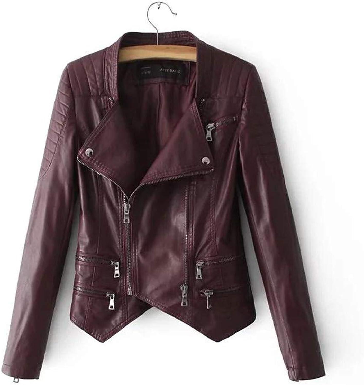 Women Faux Soft Leather Jacket Autumn TurnDown Collar Zipper Black Short Design Motorcycle Pu Leather Coat