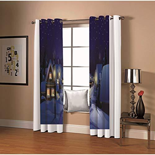 Amody Window Drapes Long Curtains Snowy Night House Lamp Window Drapes Dark Blue White Blackout Drapes for Living Room 264x244CM