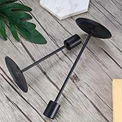 2 Pcs Candle Candlestick Holders, Tapered Candle Pillar Holders Stands Vintage, Black Table Candle Holders for Wedding, Living Room, Dinners Ornaments Decorations #3