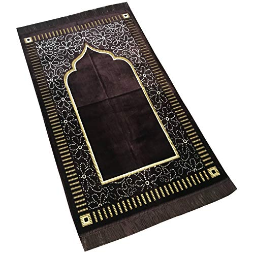 Mihrab Style Velvet Prayer Rug (515g)   Muslim Prayer Mat   Size: 110 x 65 cm - D. Coffee   Made in Turkey