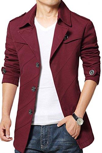 MatchLife - Abrigo - Gabardina - para hombre Style1-Red Medium