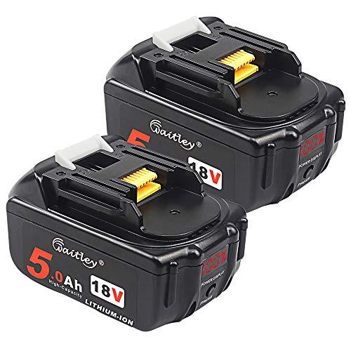 2PACK-QUPER 18V 5.0Ah bl1850 batería de repuesto de ion de litio (con indicador de potencia LED) compatible con Makita DKP180Z, DTM51Z, DHS680Z, DTD152Z, DJV181Z, DGA452Z, DTD152Z LXT, DJR188Z.