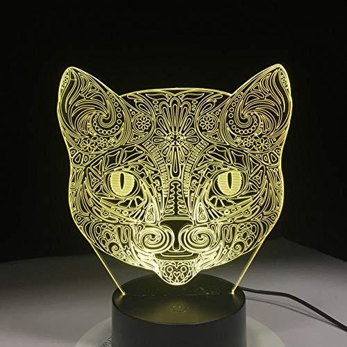 Leeypltm Karakter vos hoofd 3D illusie lamp LED nachtlicht 7 kleuren wijzigen, Touch Control, USB-oplader, als decoratieve woonkamer slaapkamer en verjaardag cadeau