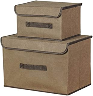 PPCP Storage Box [Two Sets] Non-Woven Storage Box Foldable Storage Box (Color : Brown)