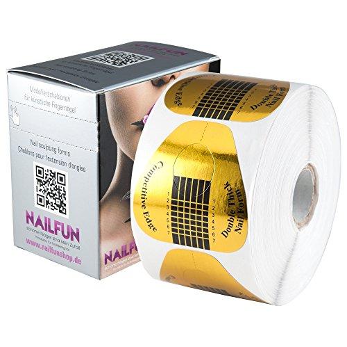 NAILFUN 1 Rolle = 500 Stück selbstklebende Double-Thick Modellierschablonen extrabreit Gold + Schablonen Spenderbox für die Acrylmodellage Gelmodellage künstliche Fingernägel