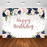 Avezano Navy and Blush Floral Backdrop for Girls Adult Woman Bday Party Navy Blue Blush Pink Rose Gold Glitter Happy Birthday Party Banner Decoration Photoshoot Photography Background (7x5ft)