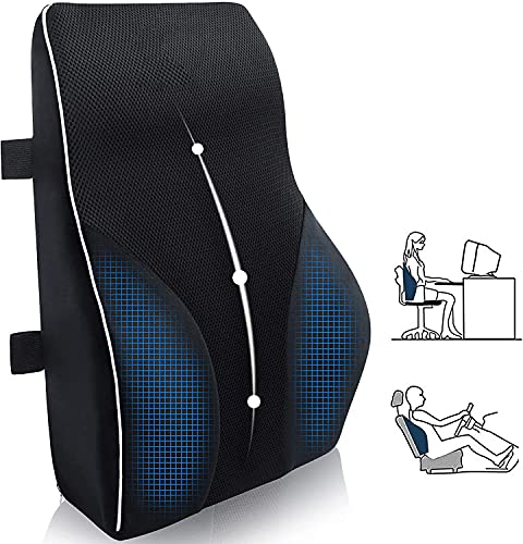 Qutool Cojín lumbar de espuma viscoelástica para el hogar, silla de oficina, coche, viajes, cojín para la espalda, color negro