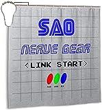Tenda per Doccia in Tessuto di Poliestere Impermeabile Link Start Nerve Gear Sword Art Online Print Tenda da Bagno Decorativa con Ganci, 72 '' X 72