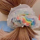 Klcclmki シュシュ ヘアゴム レインボー ボリューム 大きめ 艶 上質 シンプル 高級感 ヘアアレンジ 結婚式 パーティ 母の日 ヘアアクセサリー 髪飾り ヘアアクセ 通勤
