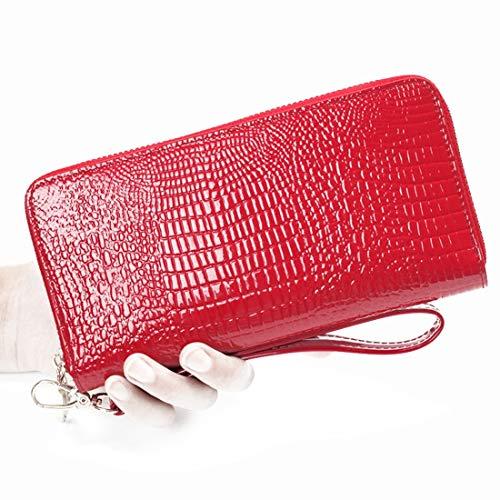 Jakiload vrouwen RFID blokkeren PU lederen portemonnee koppeling grote reistas met polsband