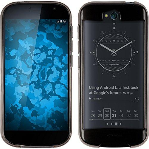 PhoneNatic Hülle kompatibel mit Yota Yotaphone 2 - grau Silikon Hülle transparent + 2 Schutzfolien