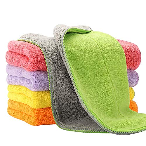 Product Image of the 5 Extra Thick Microfiber Cleaning Cloths with 5 Bright Colors, 540 GSM, 12 x 16 Inch, Super Absorbent Towels with Two Color on Two Sides for House, Kitchen, Car, Window