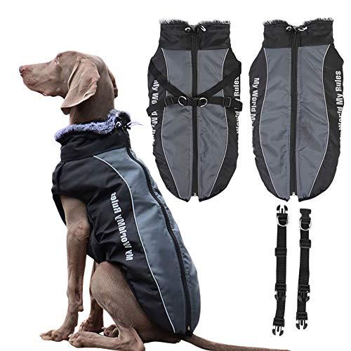Savlot Reflektierende Hundejacke mit abnehmbarem Sicherheitsgurt Winddichter Schneeanzug Hundebekleidung Outfit Weste für mittelgroße Hunde