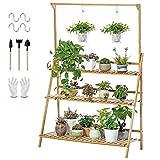 unho Estantería para Macetas Estante Decorativo de Bambú para Plantas Flores Estantería Escalera para Jardín Exterior Interior con 3 Niveles 100 x 40 x 96cm