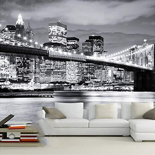 Tapeten,Eigene 4D Wandbild Tapeten,Manhattan Bridge Bei Nacht Foto-Tv Hintergrund Seide Wandmalerei Große Hd-Kunstdruck Poster Bild Für Wohnzimmer Schlafzimmer Sofa Home Decor,290Cm(H)X480Cm(W)