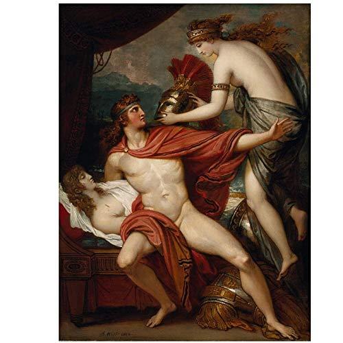 Benjamin West Thetis Llevando la armadura a Aquiles pinturas al óleo sobre lienzo Impresiones de arte de pared Sala de estar Dormitorio Decoración -50x70cmx1pcs -Sin marco
