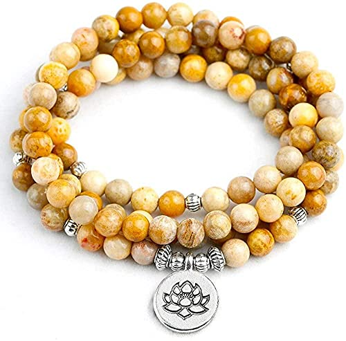 PPQKKYD Collar Collar de Coral rígido de 6 mm para Mujer, Collar o Collar de Cuentas 108 Mara, joyería con Dije de Loto para Hombre y Mujer, Regalo de cumpleaños de Yogui