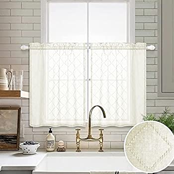 Beige Curtains 36 Inch Length for Kitchen Windows 2 Pack Pocket Small Cafe Curtain Tiers Diamond Quatrefoil Embroidery Elegant Design Geometric Short Sheer Curtains for Bedroom Bathroom Ivory Cream