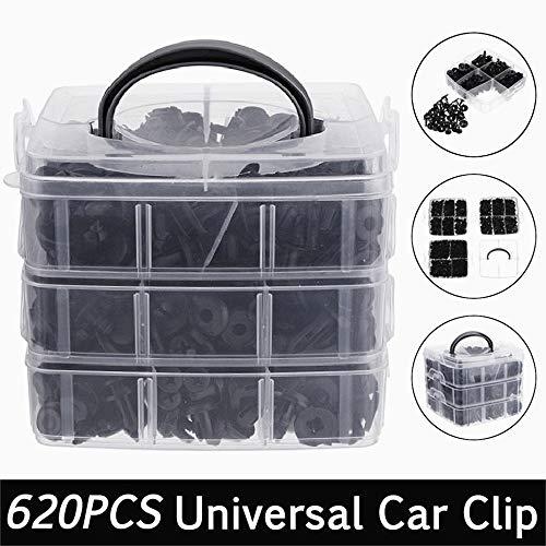 JIUZHI 620 Stück Befestigung Clips Universal Türverkleidung Klammer Stoßstangen Verkleidung Kunststoff Niete plastik Befestigungs Auto Clips mit Aufbewahrungsbox