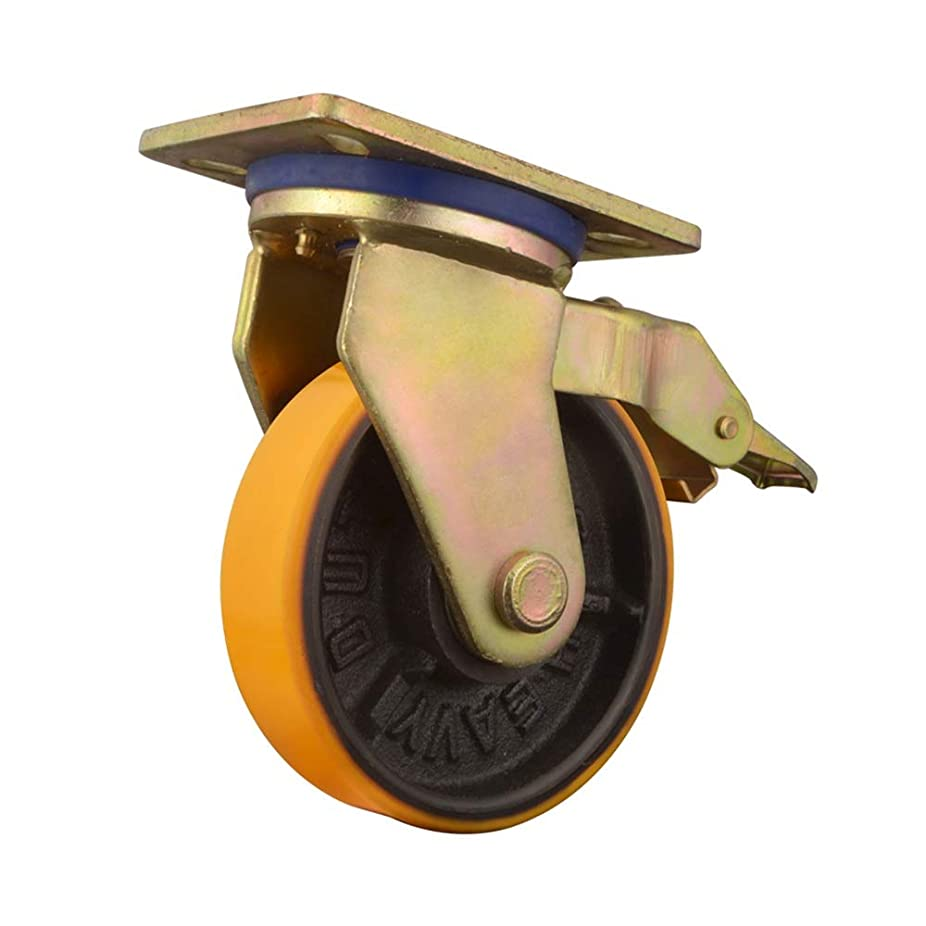 ヒステリックライラッククロール頑丈なキャスター アイアンキャストホイールロックブレーキと2つのスイベルと2つのリジッドキャスター付き4の75MMヘビーデューティToolboxは、キャスターセット (Color : Gold, Size : 3in)