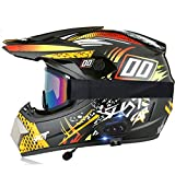 Adult Offroad Bluetooth Helmet Motocross ATV Helmet DOT Certified Helmet Unisex Dirt Bike HD Double Sport MX Motorcycle Downhill Full Face Helmet Set with Gloves Goggles Mask, S-XL