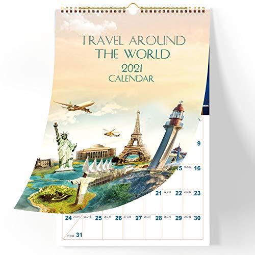 BOXBOOK Calendar-2021 Wall Calendar with Julian Dates Golden Ring Binding World Travel Landscape 11.5