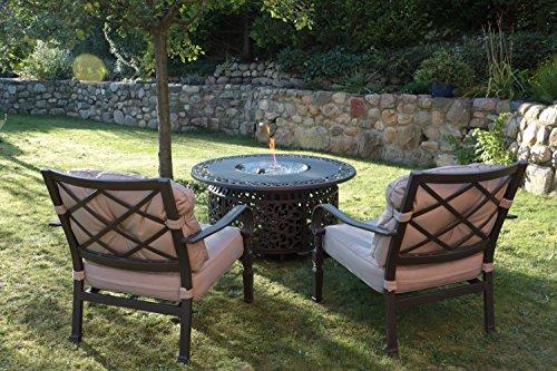 Preisvergleich Produktbild Hanseatisches Im- & Export Contor GmbH Feuertisch,  Aluguss,  rund,  Ø 120 cm (mit 2 Gartensessel)