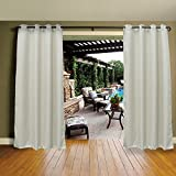 Cross Land Outdoor Waterproof Patio Curtains Drapes Canopy Gazebo Privacy Shades/Blinds,Stripe, for Patio Porch Door Pergola,Cabana,Gazebo,Dock,Pearl White (54'x 84')