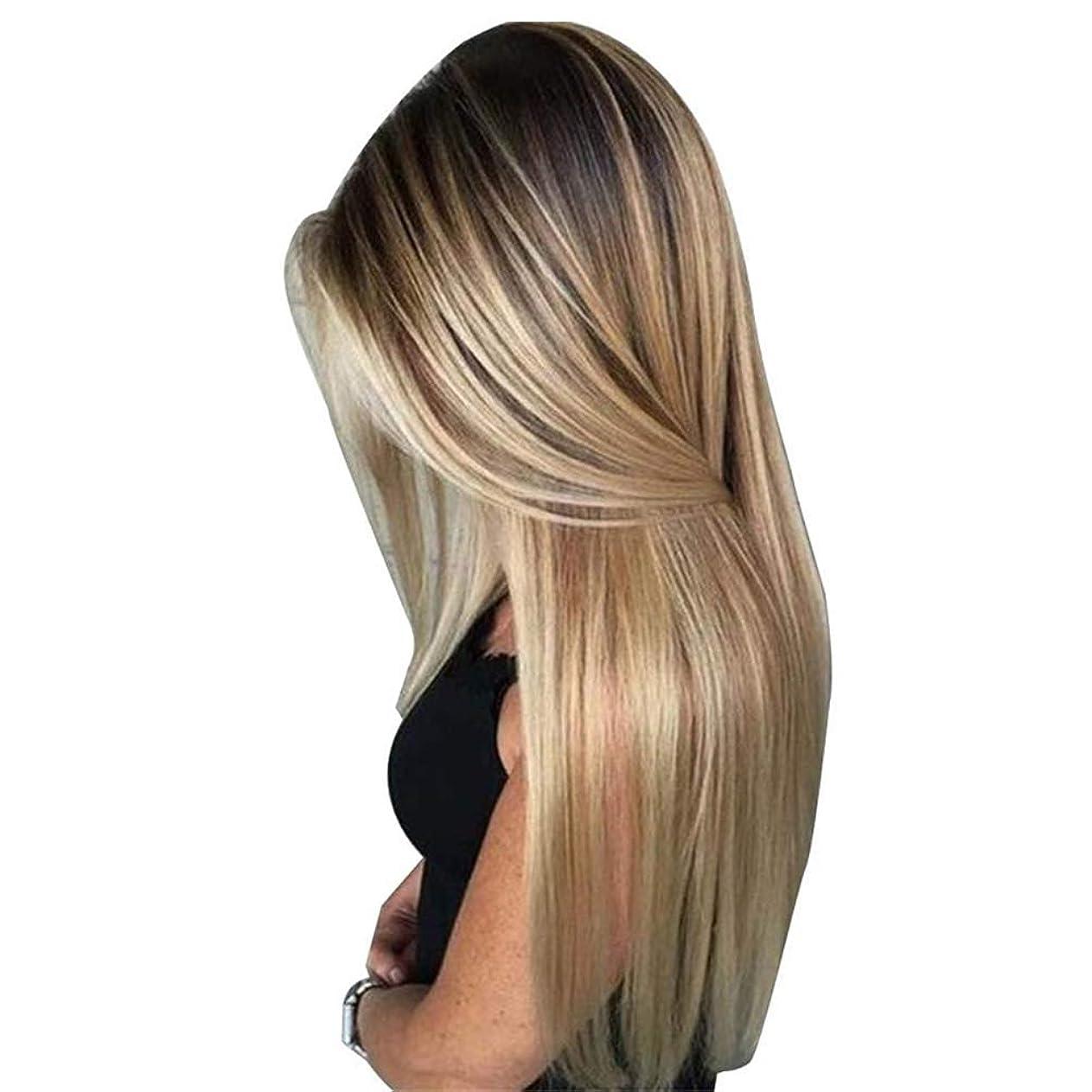 瞬時に単語流体BULemonロングストレートヘア高温シルクウィッグブロンドの人工毛ウィッグレディースロングストレートヘアウィッグ