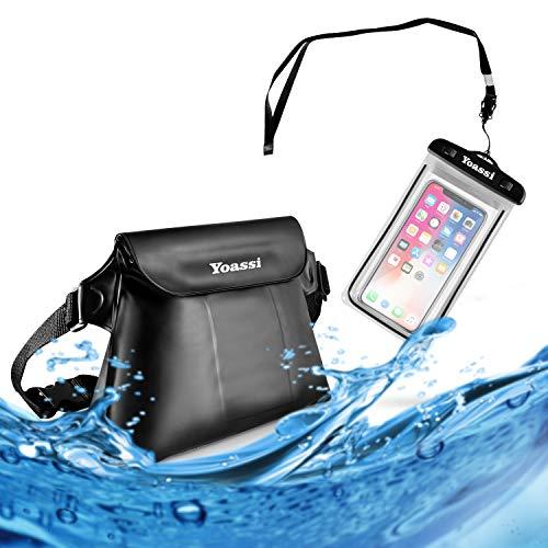 Yoassi 2 Pack Borsa Impermeabile Custodia Impermeabile Smartphone Marsupio Impermeabile Mare Universale con Cintura Regolabile Chiusura a 3 Zip Super Protezione per Sport Pesca Vela Nuoto, Nero