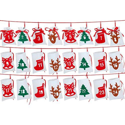 Wuudi - Calendario de Navidad con 24 bolsas de regalo de Navidad, con cordón, calendario de adviento para rellenar, bolsa de regalo, decoración navideña para caramelos y galletas, 10 x 14 cm