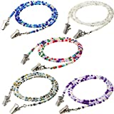 5 Pieces Beaded Face Covering Lanyards Colorful Bead Eyeglass Chains Clip Holder Handmade Necklace with 5 Pairs Silver Clips, 28 Inches Long