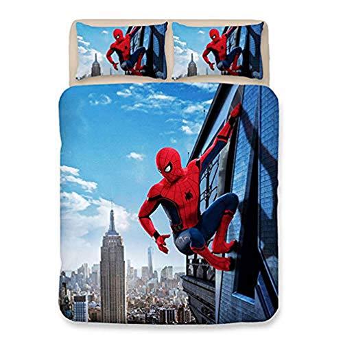 Set copripiumino con stampa digitale 3D di Spiderman Marvel, motivo cartone animato, 100% microfibra, set di biancheria da letto per bambini (B,200 x 200 cm)