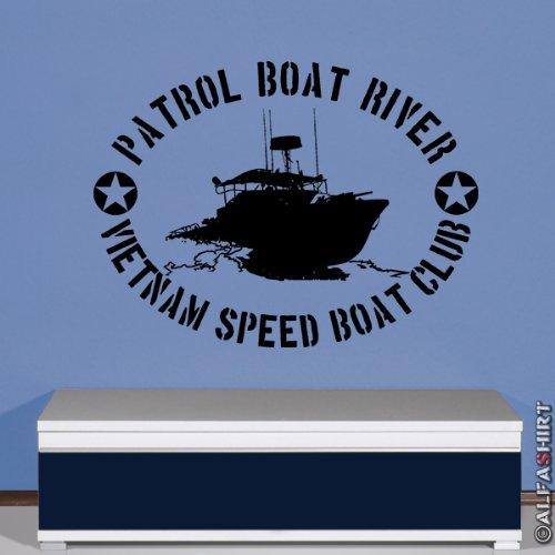Copytec Militär Vietnam Speedboat Pibber Vietnamkrieg Boot Patrol Boat River - Wandschmuck Wandtattoo Aufkleber (schwarz, 45cmx60cm) #5835