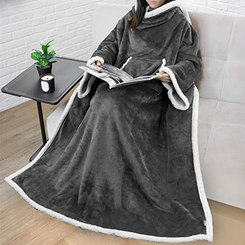 Premium Sherpa Fleece Blanket with Sleeves for Adult Women, Men   Cozy, Warm, Super Soft, Plush Wearable Throw for Couch, Sofa   Lightweight Microfiber (Charcoal)